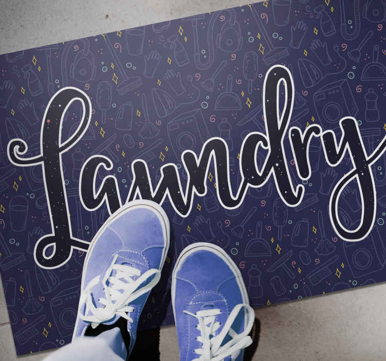TenStickers. Laundry washing text bespoke rugs. The laundry vinyl flooring carpet containing amazing designs illustrating different laundry tools, machine and equipment.