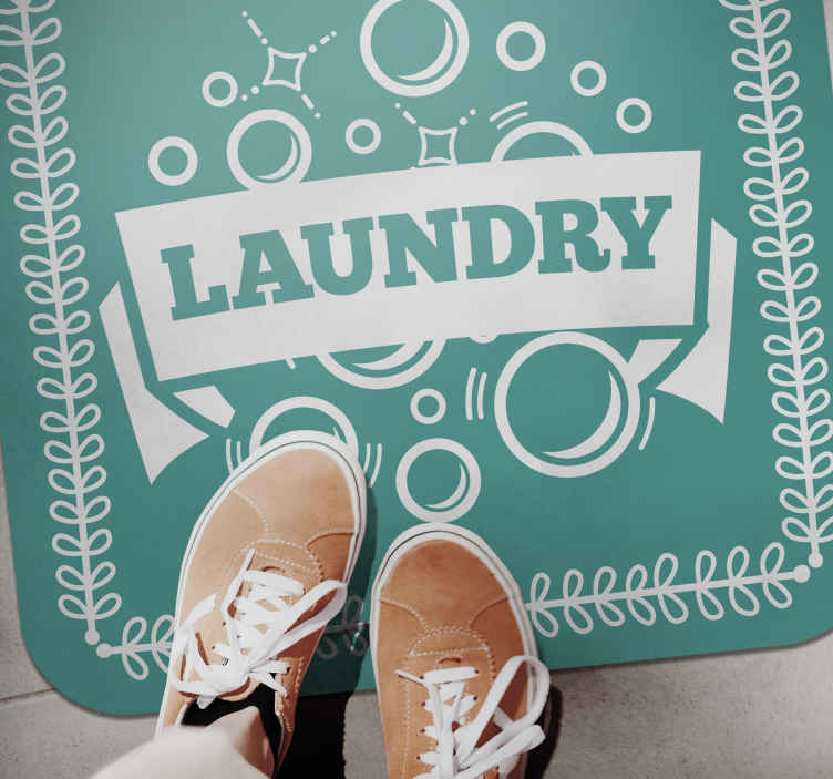 TenStickers. Laundry text and bubbles bespoke rugs. This laundry text vinyl carpet with bubble iconic design can be decorated on laundry room and other spaces in the home. Easy to maintain and durable.