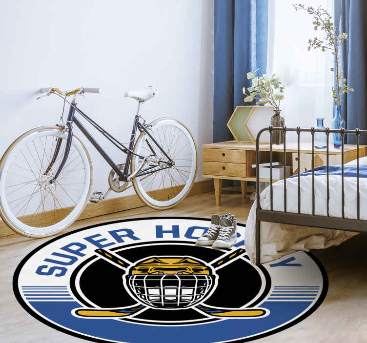 TenStickers. Super hockey game vinyl rug. Give this amazing hokey rug exclusive design for your kids, this bedroom vinyl rug definitely offers you a design that will amaze your kids