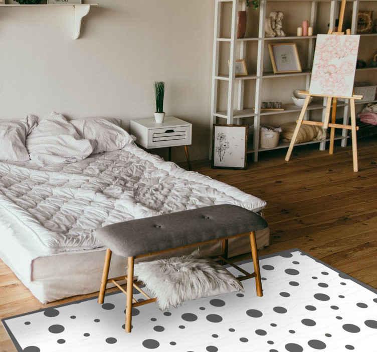 TenStickers. Grey and White Polka dots geometric carpets. Our living room flooring mats are available in various sizes and can also be customized to meet your needs. Home delivery!