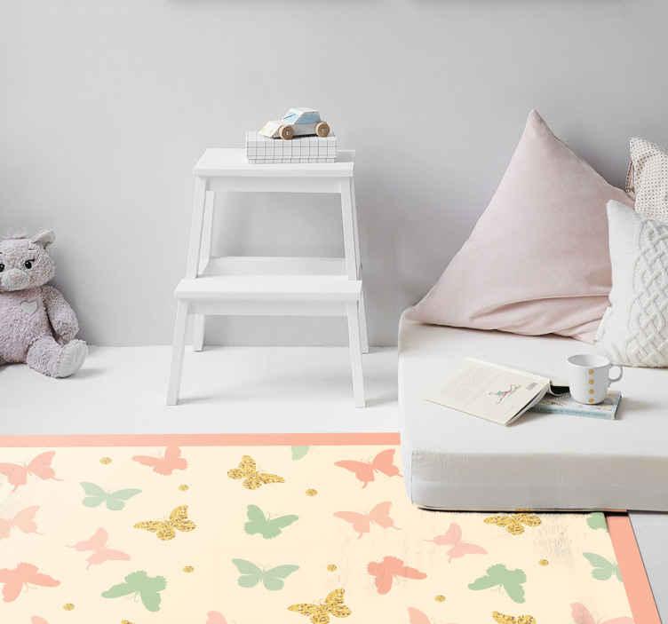 TenVinilo. Alfombra vinilo animales topos y mariposas. ¡Compra esta alfombra vinilo animales con lunares y mariposas y deja que tu hija disfrute de un diseño bonito y original! ¡Envío gratuito!