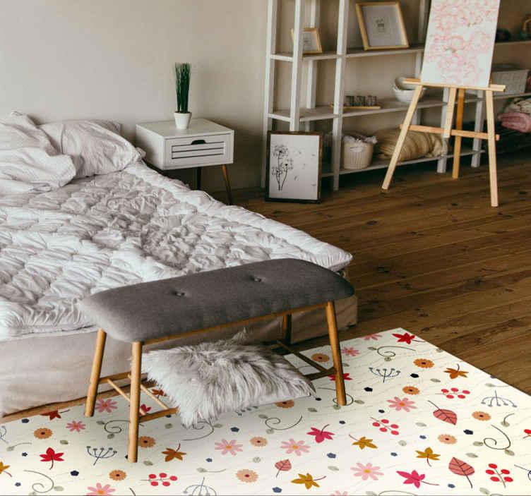 TenVinilo. Alfombra vinilo floral minimalista. Añade esta alfombra vinilo floral con lunares amarillos y hojas a tu carrito y diviértete decorando tu apartamento ¡Entrega a domicilio!