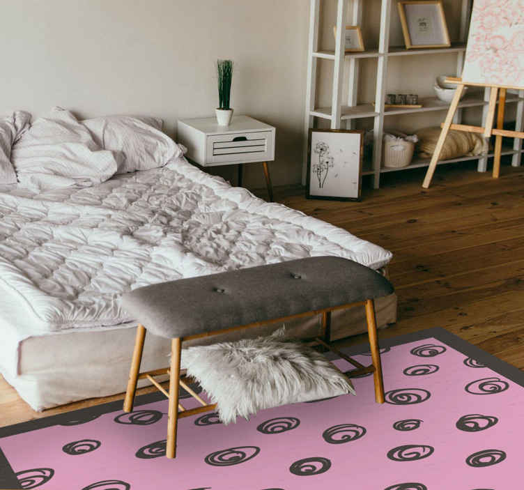 TenStickers. Black and Pink Polka Dots vinyl carpets. Pink polka dot vinyl rug which  features a pink background with black drawn polka dots on it. It is the perfect addition to any bedroom or living room!