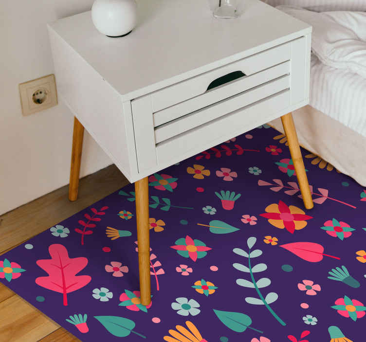 TenStickers. Floral Polka Dot vinyl rug. Floral vinyl rug which features amazing pattern of cartoon flowers and leaves coloured in lovely shades of pink, green and orange.
