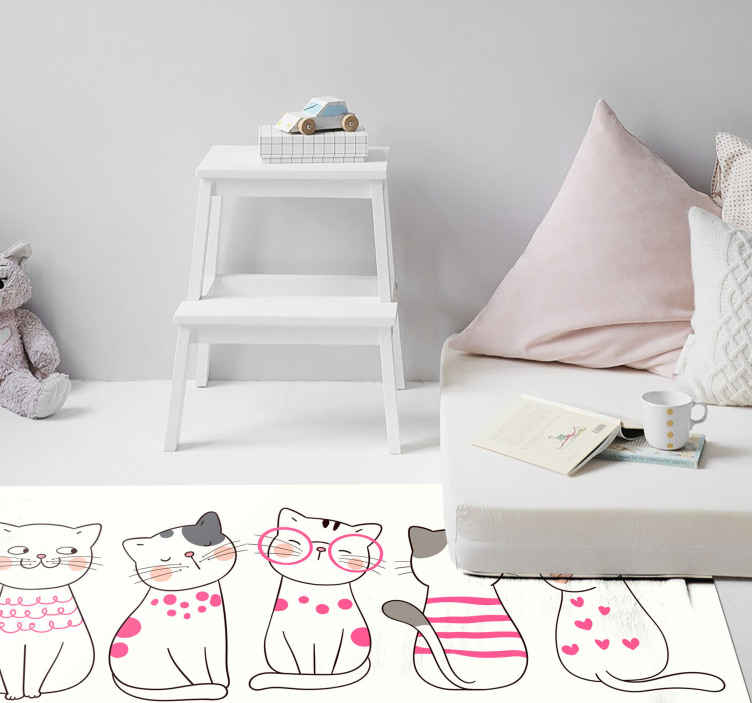 TenStickers. Polka dot cat animal mat. Perfect bedroom vinyl carpet for children. It host design of various cats sitting in different styles. It is original and easy to maintain.