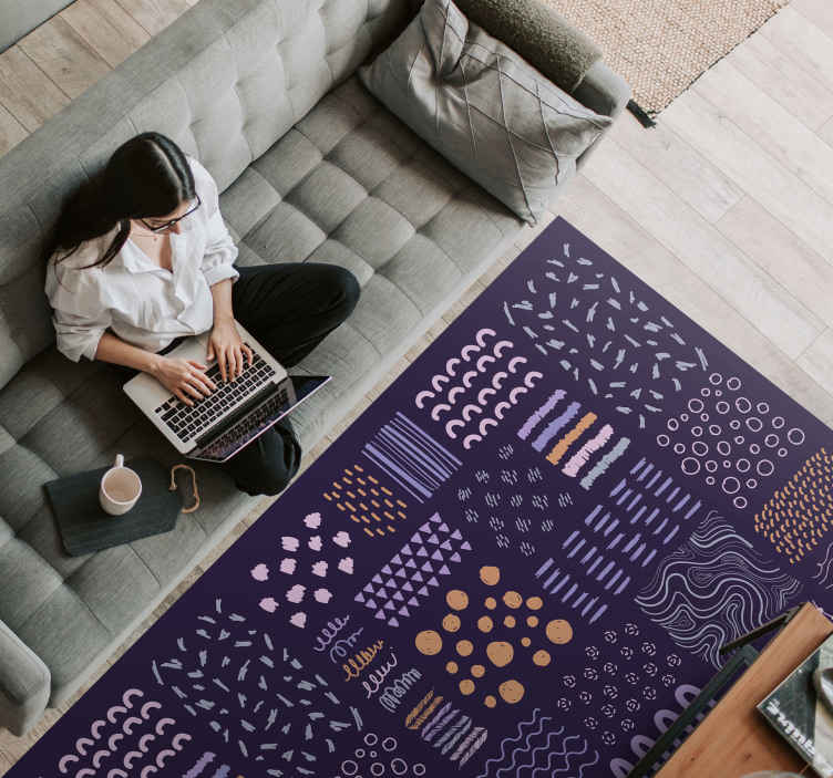 TenStickers. Drawn doodle  polka dots geometric carpets. Get this anti slip and anti allergic drawn vinyl rug product today and be amazed! Polka dot design for your perfect home interior! Home delivery!