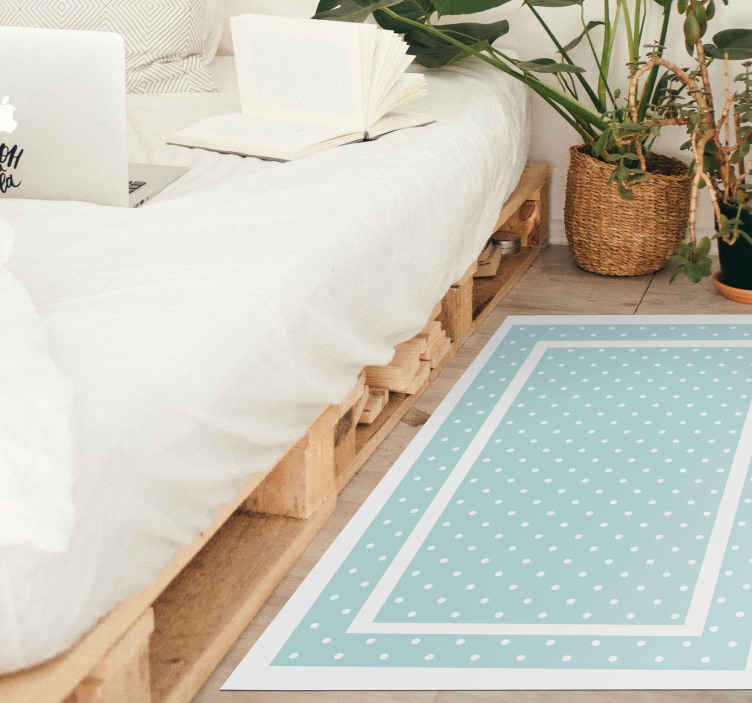 TenStickers. Polka dot pink border geometric carpets. Why not order a beautiful polka dot vinyl rug product today that will  cover up any floor damages inside your house and give it more energy? Buy now!
