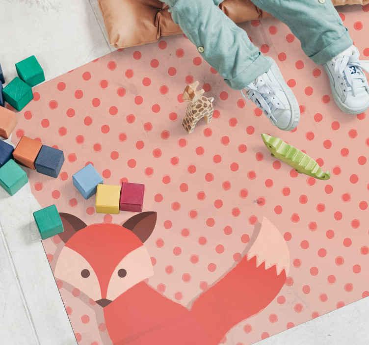 TenVinilo. Alfombra vinilo animales con lunares y zorro. Alfombra vinilo animales para habitación infantil de color rosa con zorro y puntos para que decores tu casa a tu gusto ¡Envío exprés!