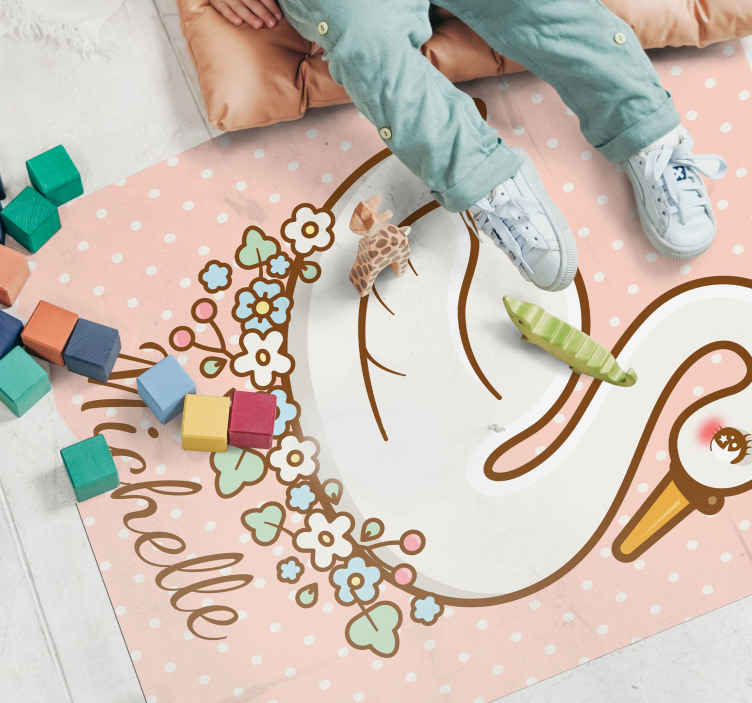 TenStickers. Princess polka dot personalised vinyl rug. Looking for that cute and friendly looking carpet for a kids' bedroom?. Our pink princess polka dot personalized mat got you covered.