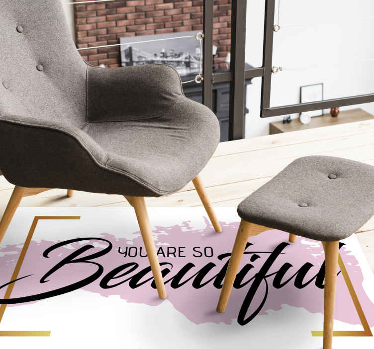 """TenStickers. You are so beautiful pastel colours bespoke rugs. A white original vinyl rug with the motivational phrase """"You are so beautiful"""" in black, surrounded by a yellow frame, ideal for decorating."""