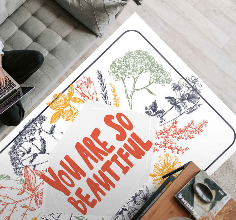 "TenStickers. You are so beautiful lavender field bespoke rugs. Vinyl carpet with the decoration of lavender leaves, with the motivational phrase ""You're so beautiful"", perfect for you to decorate your room."
