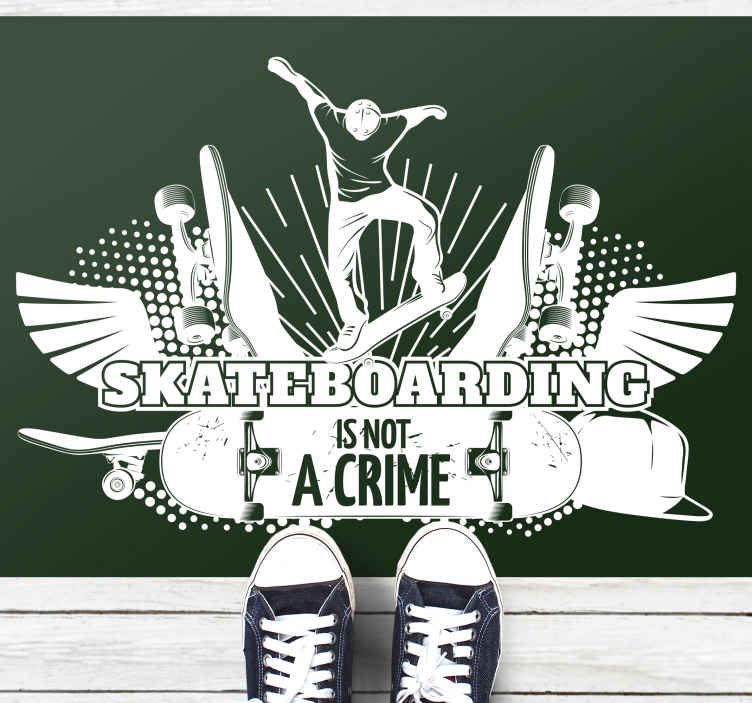 TenStickers. Skateboarding is not a crime vinyl rugs. Teen vinyl rug which  features a cool image of a guy doing a skateboarding trick with the text 'Skateboarding is not a crime' underneath it.