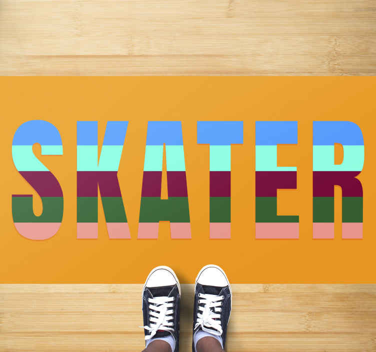 TenStickers. Striped Skater teenage vinyl rugs for bedrooms. Teen vinyl rug which features the text 'skater' in striped colours. High quality materials used in production. Sign up for 10% off.