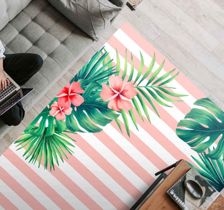 TenVinilo. Alfombra vinilo rayas con hojas tropicales . Alfombra vinilo rayas verticales rosas con fondo blanco y hojas y flores, ideal para llenar tu dormitorio de un toque natural y armonioso.