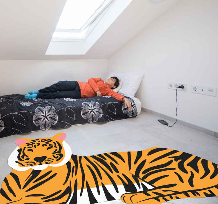 TenStickers. Tiger skin animal print carpet. Animal texture vinyl rug with the illustration of a large sitting tiger that will give your bedroom a unique and original touch. Discounts available.