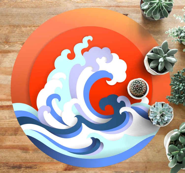 TenStickers. Covor de soare și val de natură. Dacă vă place apa, valurile sau poate mergeți la plajă, atunci acest covor de vinil soare și valuri vă poate fi recomandat! Faceți o baie astăzi!