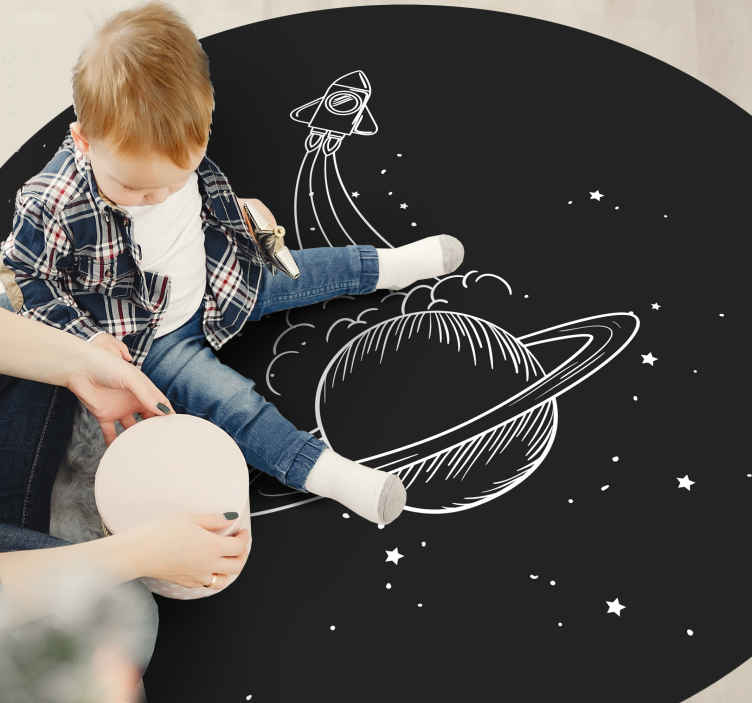 TenStickers. Rocket with stars baby mat. Rocket with stars vinyl mat, ideal for children bedroom and baby play space. If your kid is fascinated with space elements then this carpet is a pick.
