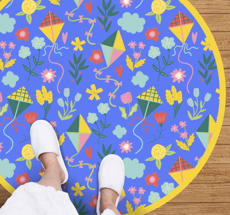 TenStickers. Kite pattern baby vinyl mat. Colorful  children bedroom vinyl carpet containing design of various kites and flower illustrations.  Easy to maintain, original and durable.
