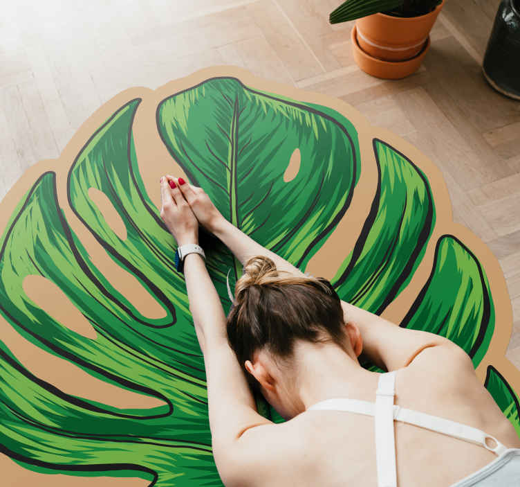 TenStickers. Monstera leave shape flower rug. An irregular shape leave pattern rug. A fantastic styled carpet to add an attraction on a space in your house. Perfect for outdoor and indoor space.