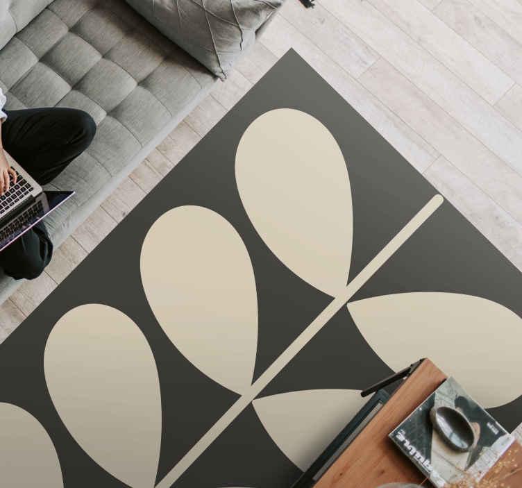 TenStickers. Carpete escuro orla kiely contemporâneo. Mude a aparência do seu espaço com este tapete de vinil moderno orla kiely escuro original. é original, feito em vinil de qualidade, antiderrapante e duradouro.