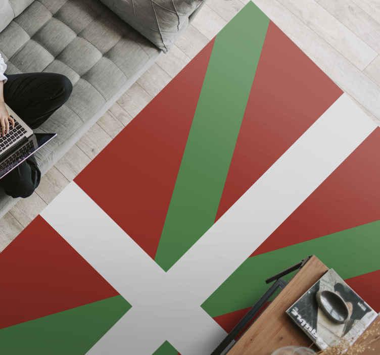TenVinilo. Alfombra vinilo rayas bandera País Vasco. Alfombra vinilo rayas con la bandera del País Vasco para que decores tu casa de forma original y divertida ¡Envío exprés a domicilio!