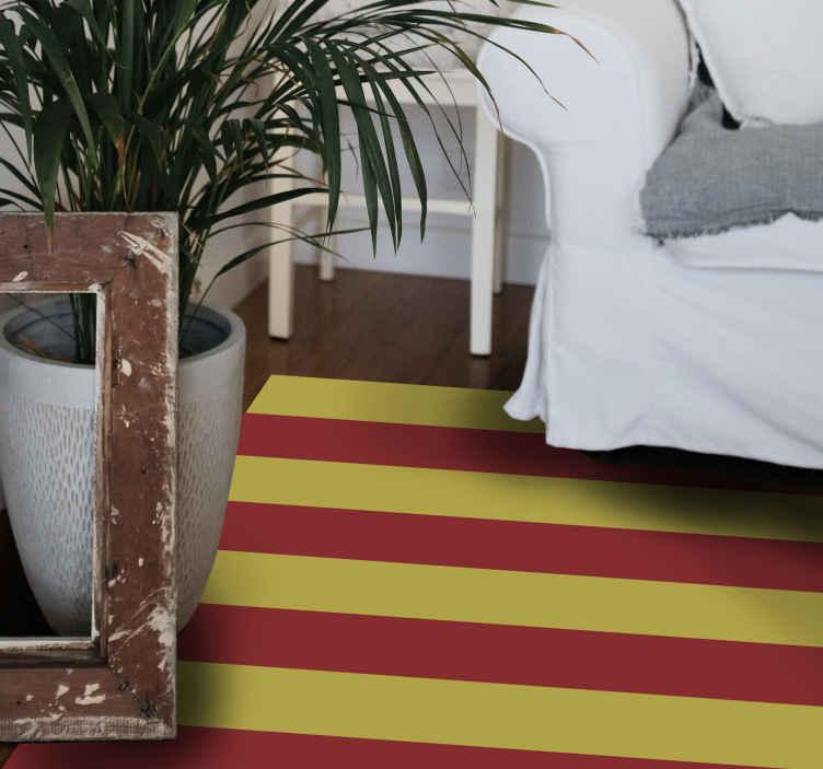 TenVinilo. Alfombra vinilo rayas bandera Senyera. Hermosa alfombra vinilo rayas de Senyera, oficina y otros espacios. Es original y muy duradero. Disponible en varios tamaños ¡Envío exprés!