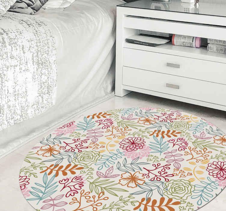 TenStickers. Folha vintage e tapete de flores com padrão de flores. Tapete de chão com flores ornamentais multicoloridas que pode ser decorado no quarto das crianças. Também serve para qualquer outro espaço da casa.