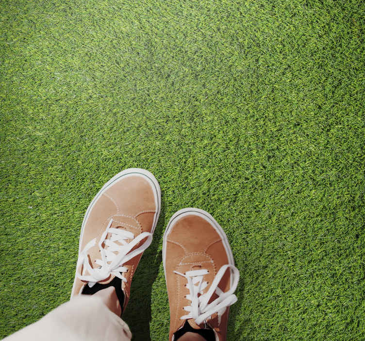 TenStickers. Tapetes de vinil de grama verde realistas. Tapete de vinil de grama que apresenta uma imagem realista de grama verde. Disponível em vários tamanhos. Materiais de alta qualidade usados.