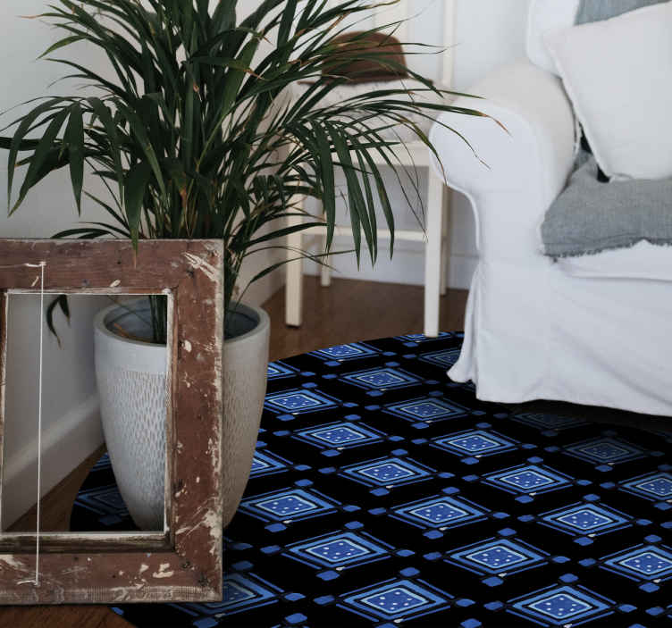 TenStickers. Black and Blue Nordic vinyl rugs. Black and blue vinyl rug which features a pattern of blue squares with white spots inside of them. Extremely long-lasting material.