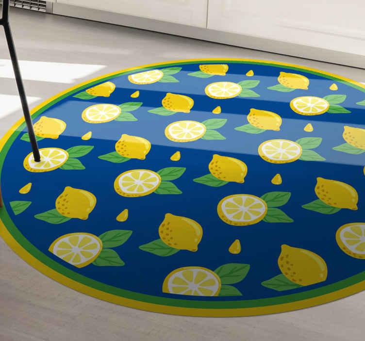 TenVinilo. Alfombra vinilo cocina patrón de limones. ¡Pida hoy mismo esta alfombra vinilo cocina de limón para decorar su casa! ¡Entrega a domicilio en pocos días si pides este diseño ahora!