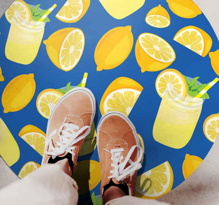TENSTICKERS. レモンジュースキッチンフローリング. 今日この柑橘系のビニール絨毯製品を購入して、あなたの友人や家族があなたと同じようにそれを愛するのを見てください!ほんの数日で宅配!