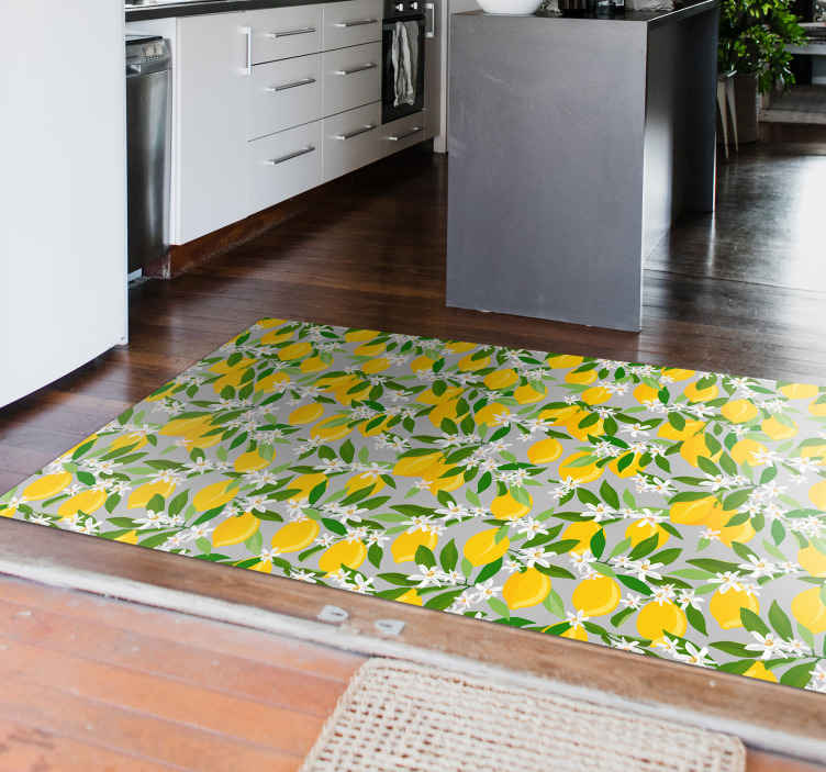 TenStickers. Lemon Tree flower rug. Order this cool lemon vinyl rug product today and receive it in just some days! Easy to clean and sweep using regular water and soap! Buy it now!
