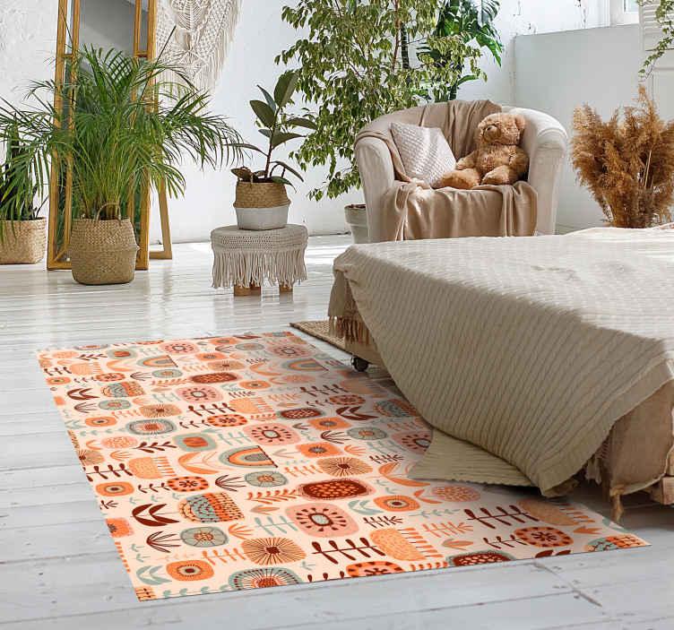 TenVinilo. Alfombra vinilo nórdica de flora y fauna. ¿Busca una manera rápida y fácil de agregar un símbolo elegante a su dormitorio o sala de estar? Esta alfombra vinilo nórdica de plantas es tuya