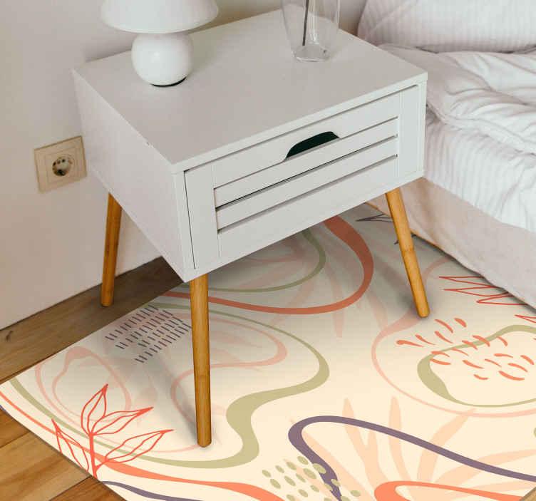 TenVinilo. Alfombra vinilo nórdica de hojas . Una alfombra de vinilo para habitación con motivos de hojas de estilo nórdico. Ideal para dar un toque atractivo a su hogar ¡Envío exprés!
