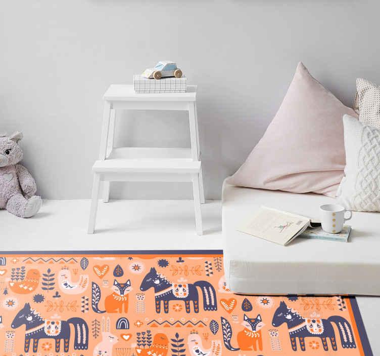 TenVinilo. Alfombra vinilo nórdica folclore escandinavo. Alfombra vinilo nórdica alfombra original con folclore nórdico para que decores tu casa con un diseño increíble ¡Envío gratuito!
