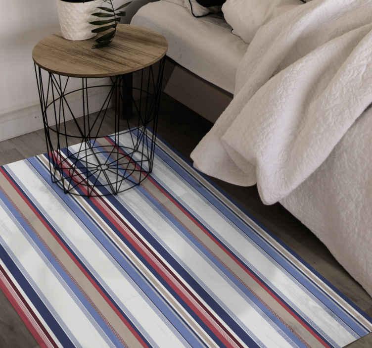 TenVinilo. Alfombra vinilo rayas de tonos marinos. Increíble alfombra vinilo rayas para que decores tu dormitorio o salón con un diseño original y elegante. Elige las medidas ¡Envío exprés!