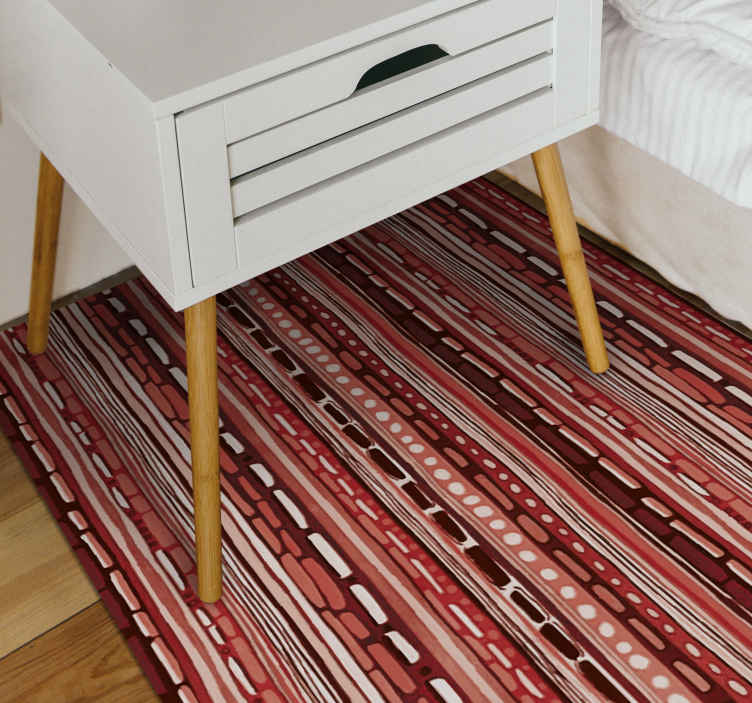 TenStickers. 民族条纹条纹地毯. 如果您今天订购这种精美独特的民族乙烯基地毯设计,几天之内就可以送货上门!防滑和抗过敏!