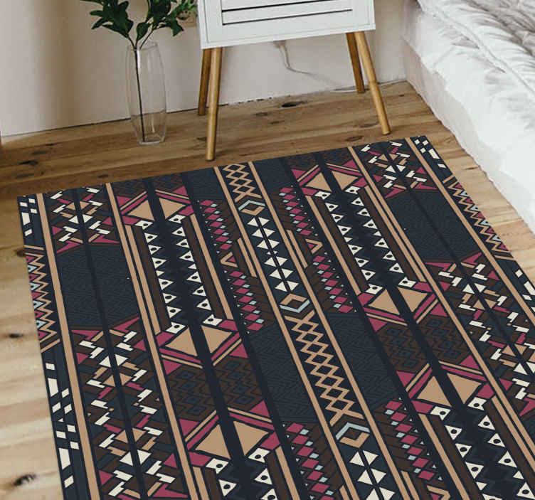 TenStickers. Ghananian stripes vinyl rug stripes rug. Wonderful Ghananian stripes laminating flooring  useful to your living-room or kitchen. ideal to decorate your home giving it a more stylish air