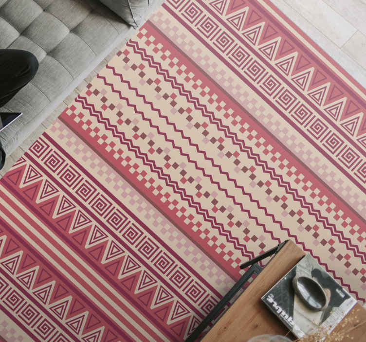 TenStickers. Classic red stripes stripes rug. Have this class vinyl rug product in your home in just a few days if you order it today! Very easy to clean and sweep. Home delivery!