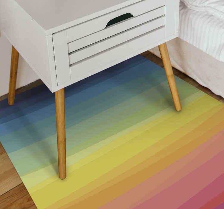 TenVinilo. Alfombra vinilo rayas arcoíris degradado. ¡Alfombra vinilo rayas de colores arcoíris perfecta para la habitación de tus hijos o tu baño! ¡Elija entre diferentes tamaños y recíbalo en su casa!