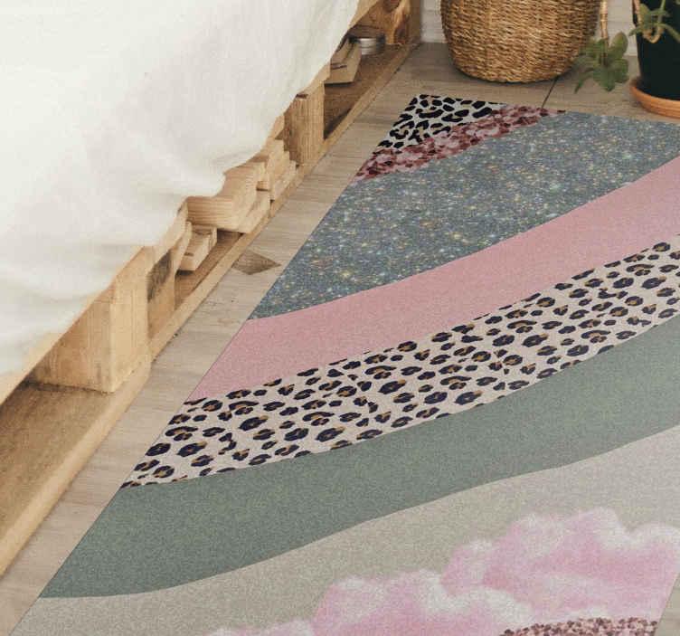 TenVinilo. Alfombra vinilo rayas estampado leopardo. Qué hermoso se volverá tu lugar con esta alfombra vinilo rayas con estampados de leopardo ¡Fácil de limpiar, duradera y antideslizante!