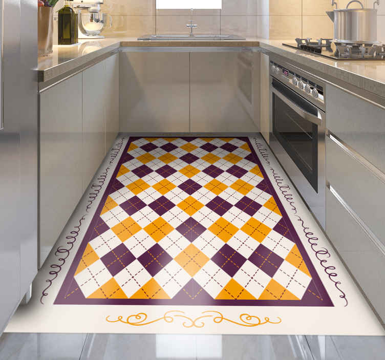 TenStickers. Checked vintage pattern kitchen flooring. This amazing retro rectangle vinyl rug will give you a whole new view of your kitchen! Bring some retro in your life with this design!
