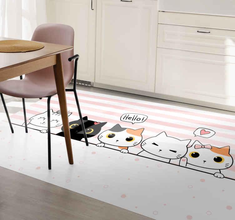 TenVinilo. Alfombra vinilo cocina gatitos asomados. Alfombra vinilo cocina con diseño de gatos que saludan sobre un fondo blanco con líneas rosas ¡Ideal para decorar tu casa! ¡Envío gratis!