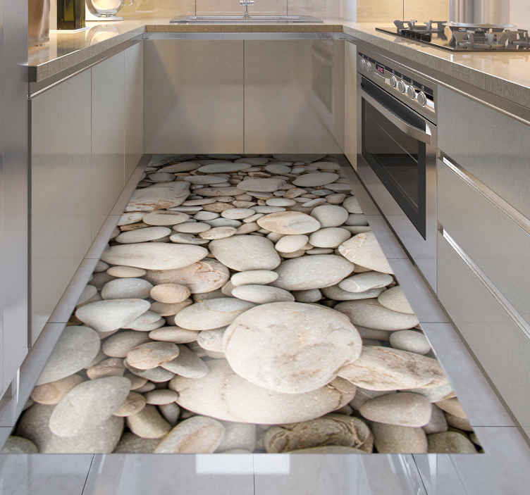 TENSTICKERS. 白い小さな石のキッチンビニールラグ. このスタイリッシュな白い石のビニールラグは、キッチンやバスルームの床にぴったりです。滑り止め素材もお手入れも簡単!