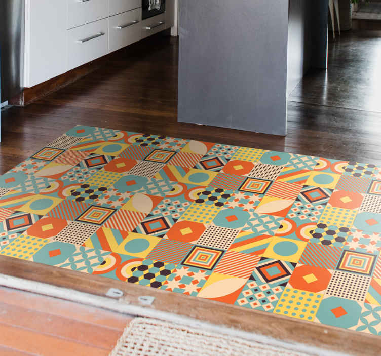 TenStickers. Coloured Geometric Tiles kitchen vinyl rug. Kitchen vinyl rug which  features a stunning arrangement of tiles, all with unique geometric patterns inside. Sign up for 10% off.