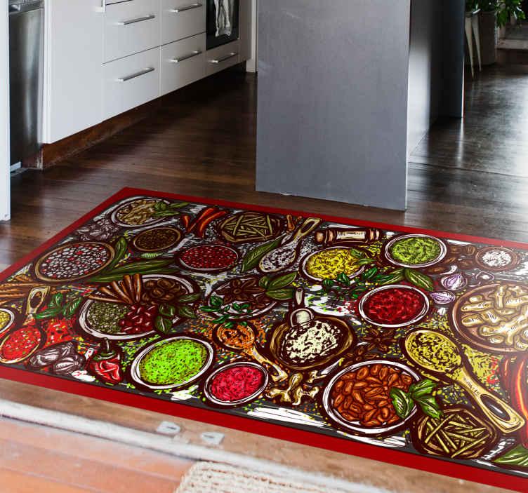 TenVinilo. Alfombra vinilo cocina cuencos de especias. Alfombra vinilo cocina especias que presenta una imagen colorida de varias especias, como jengibre, chile y canela ¡Envío exprés a domicilio!