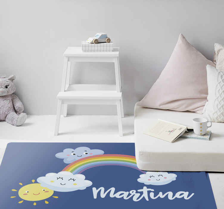 TenStickers. Rainbow and clouds personalised vinyl rug. Kids vinyl rug which features an image of a rainbow with clouds on either end of it which are smiling. Discounts available.