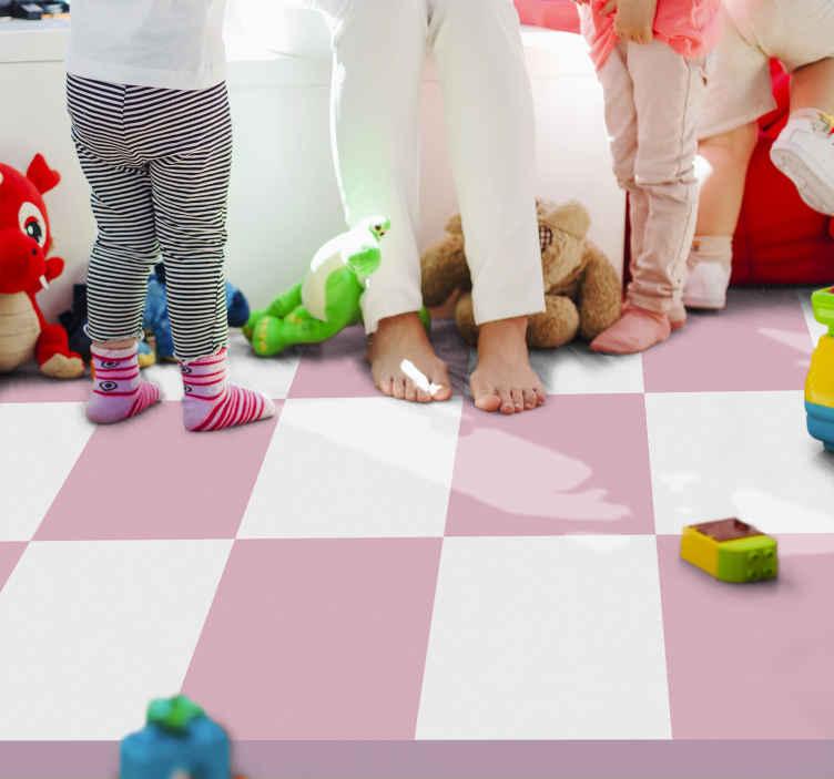 TenVinilo. Alfombra vinilo geométrica cuadro rosa y blanco. Alfombra vinilo geométrica de tablero de ajedrez rosa es perfecta en cualquier habitación. Es delicado y sutil, pero práctico ¡Envío exprés!