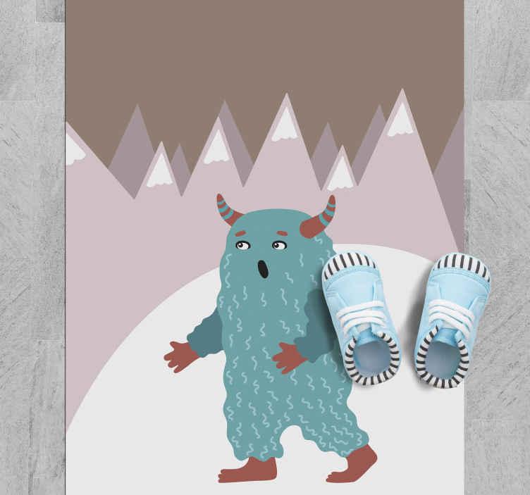 TenVinilo. Alfombra vinilo nórdica monstruo azul. Alfombra vinilo nórdica de una antigua bestia nórdica ideal para que decores la habitación de tu hijo. Producto antideslizante ¡Envío exprés!
