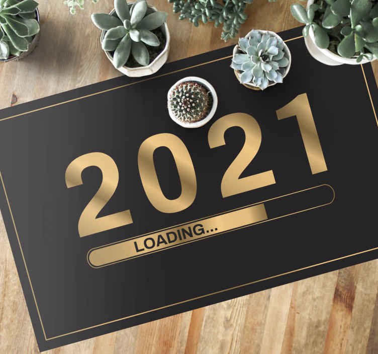 TenStickers. Loading gold bespoke rugs. You can have this new year vinyl rug product in any year you want, just send us an email! Home delivery in just a few days! Buy now!